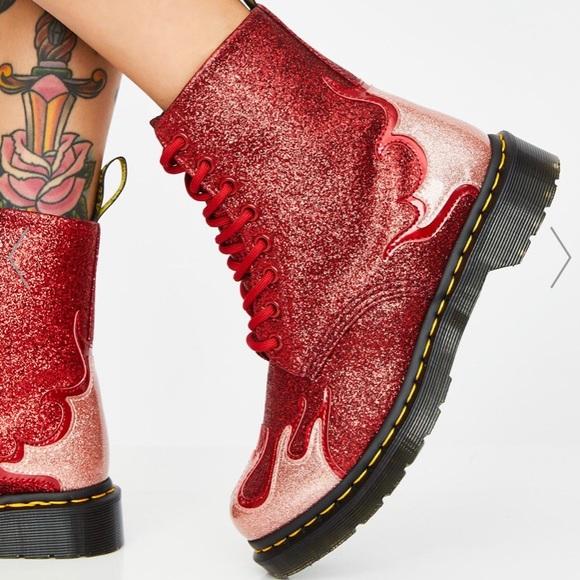 dr martens glitter flame boots